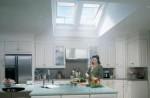 Skylights brighten this kitchen